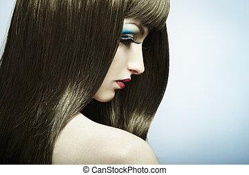 belle femme, foncé-d'une chevelure, jeune, mode, portrait