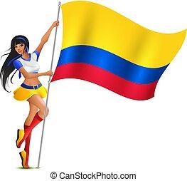 belle femme, football avoirs, jeune, drapeau, colombie, cheerleader