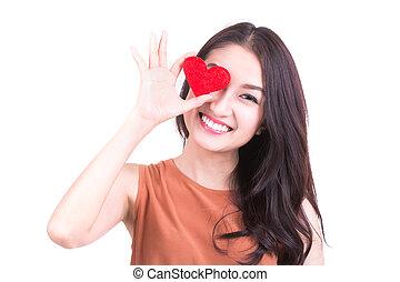 belle femme, formulaire, cadeau, valentine, day., sourire