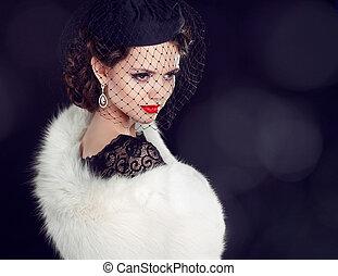 belle femme, fourrure, bijouterie, beauty., coat., mode, photo