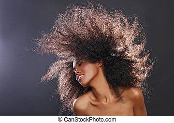 belle femme, grand, abrutissant, cheveux, américain, noir,...
