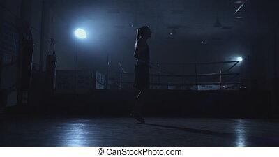 belle femme, gymnase, boxe, sauter, boxeur, anneau, sauteurs