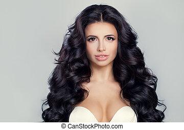 belle femme, hairstyle., bouclé, face., long, ondulé, brunette, hair., modèle, brillant, girl
