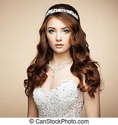 belle femme, hairstyle., photo, élégant, dress., portrait mariage, mode, sensuelles