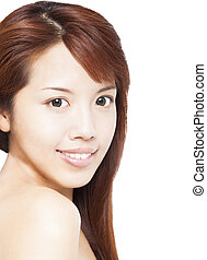 belle femme, haut, jeune, asiatique, fin, face souriant
