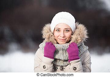 belle femme, hiver, délassant, jeune, extérieur, sourire, jour