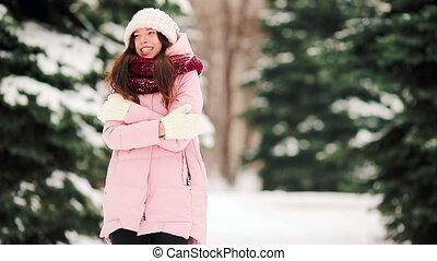 belle femme, hiver, jeune, neige, temps, dehors, jour