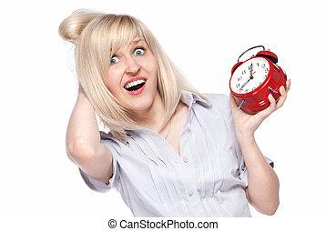 belle femme, horloge, reveil, jeune, choqué, isolé, blanc