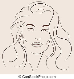 belle femme, illustration, vecteur, figure