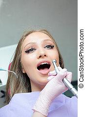 belle femme, inspection, dentistry., dents