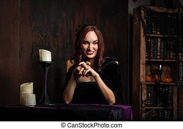 belle femme, intérieur, jeune, robe noire