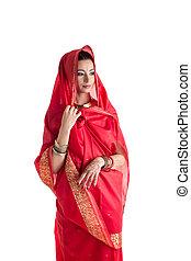 belle femme, isolé, blanc, est, sari