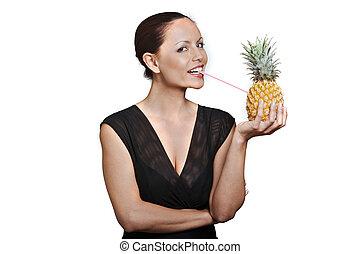 belle femme, isolé, jus, studio, asiatique, fond, ananas, portrait, par, boire, blanc, heureux
