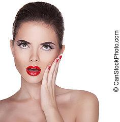 belle femme, isolé, lèvres, arrière-plan rouge, blanc, surpris