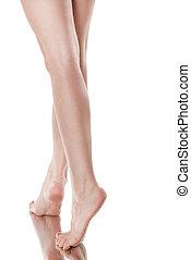 belle femme, jambes, long