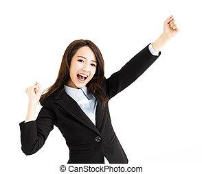belle femme, jeune, business, heureux