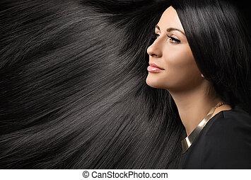 belle femme, jeune, cheveux, noir, brillant