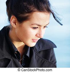 belle femme, jeune, clair, portrait, élégant, plage