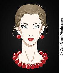 belle femme, jeune, collier, portrait, rouges