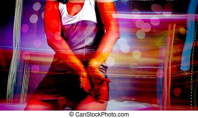 belle femme, jeune, danses, mouvements, sillon