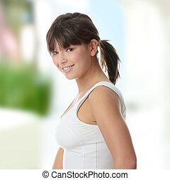 belle femme, jeune, exercice