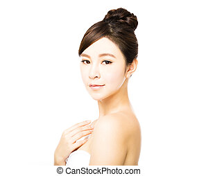 belle femme, jeune, figure, propre, peau, frais