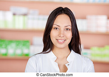 belle femme, jeune, fonctionnement, pharmacie