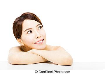 belle femme, jeune, haut, regarder, asiatique