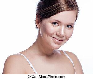 belle femme, jeune, -, isolé, figure, adulte, propre, peau, frais, blanc