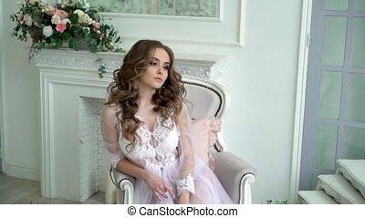 belle femme, jeune, lingerie, poser, blanc