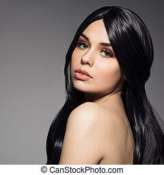 belle femme, jeune, long, ondulé, brunette, hair., portrait