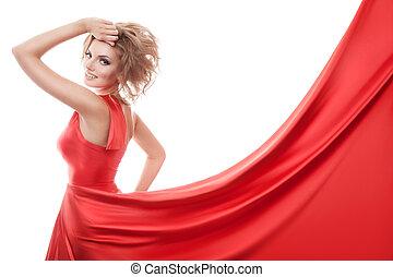 belle femme, jeune, long, robe, rouges