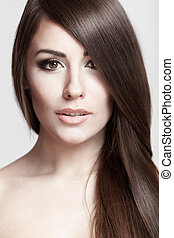 belle femme, jeune, longs cheveux, brunette