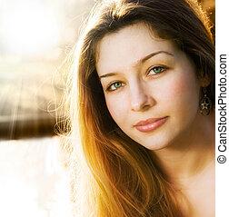 belle femme, jeune, lumière soleil, une, sensuelles