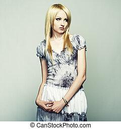 belle femme, jeune, mode, portrait, blond
