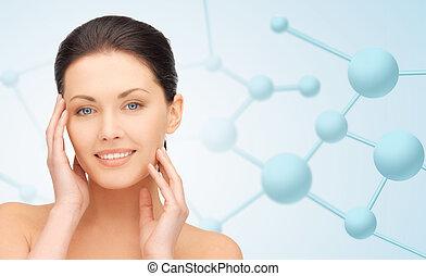 belle femme, jeune, molécules, figure