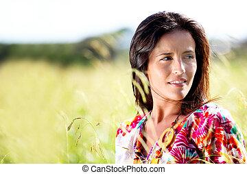 belle femme, jeune, paysage, nature