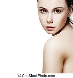 belle femme, joli, face., jeune, femme, poser, fond, peau, propre, blanc