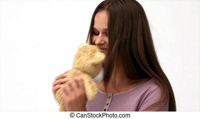 belle femme, jouer, ours, teddy