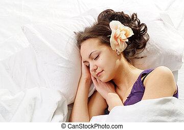 belle femme, lit, fleur, caucasien, chance