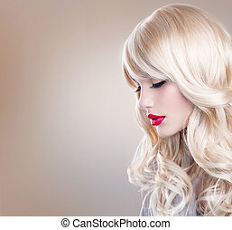 belle femme, longs cheveux, ondulé, portrait., blonds, blond...