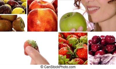 belle femme, manger, fruit