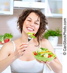 belle femme, manger, salade, jeune, diet., légume