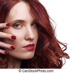 belle femme, maquillage, jeune, clair, portrait