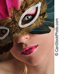 belle femme, masque, déguisement