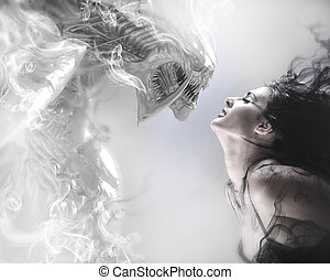 belle femme, monstre, beauté, bête, baisers