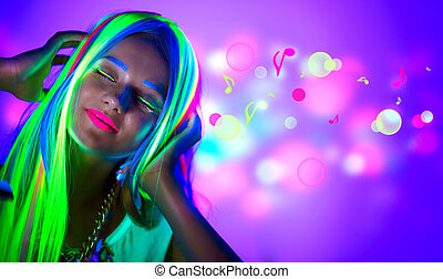 belle femme, néon, light., jeune, disco, maquillage, fluorescent, girl