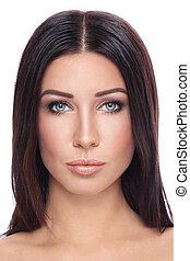 belle femme, naturel, jeune, maquillage, portrait, bronzé