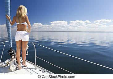 belle femme, nautisme, jeune, blonds, bateau
