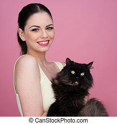 belle femme, noir, elle, chat